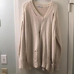 Zara Distressed Knit Sweater